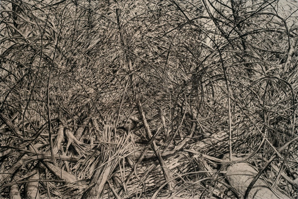 o.T., 2017, Kohle auf Multiplex (Birke, dreiteilig), 300 x 450 cm  | untitled, 2017, charcoal on multiplex (birch, three parts), 300 x 450 cm