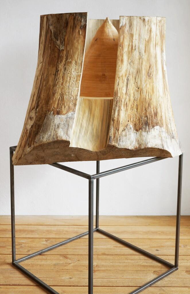 Oros, 2019/20, Erdstammstück auf Stahl, 168 x 117 x 83 cm | Oros, 2019/20, tree trunk piece on steel, 168 x 117 x 83 cm