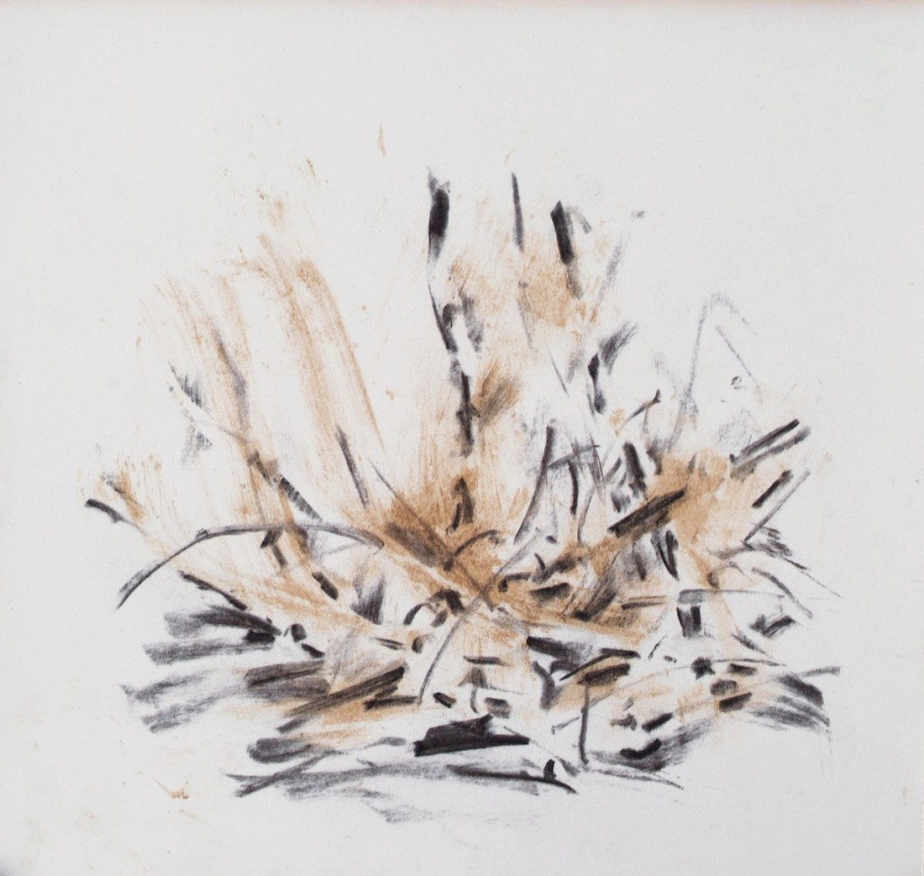 o.T., 2008,Lehm und Kohle auf Papier, 20 x 21 cm | untitled, 2008, loam and charcoal on paper, 20 x 21 cm