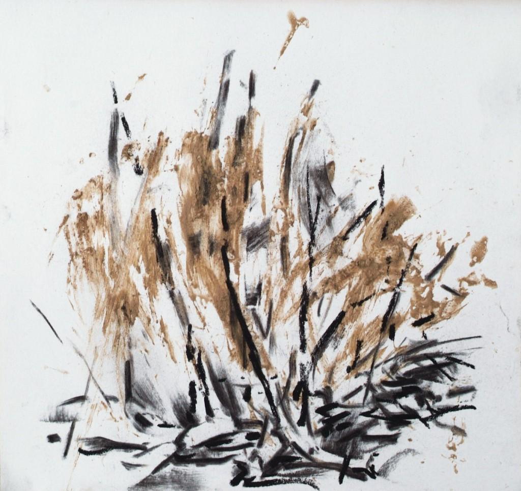 o.T., 2008,Lehm und Kohle auf Papier, 20 x 21 cm   untitled, 2008, loam and charcoal on paper, 20 x 21 cm
