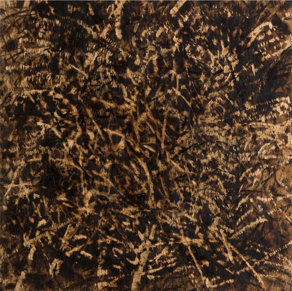 o.T., 2018, Kohle auf gebrannter und gesägter Grobspanplatte, 99,5 x 99 cm  | untitled, 2018, charcoal on burned ans sawn OSB, 99 x 99,5 cm