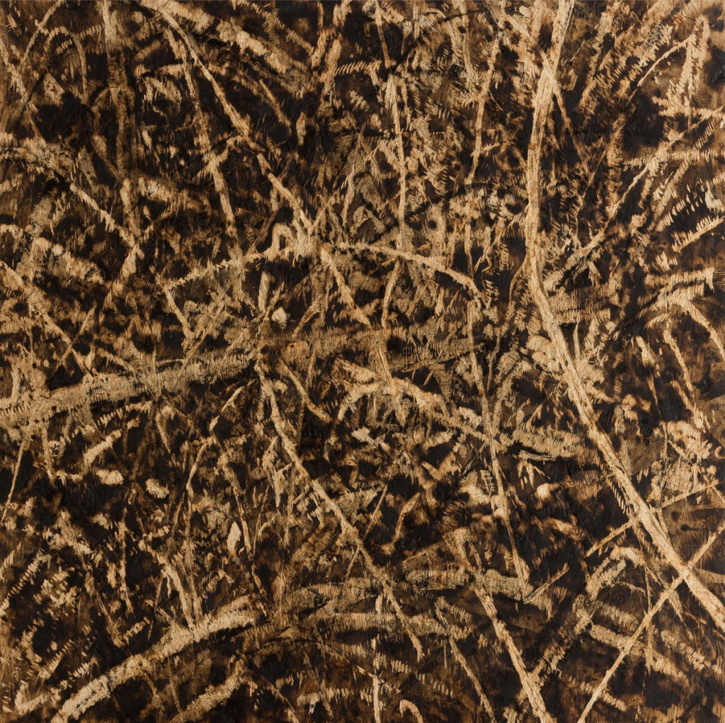 o.T., 2018, Kohle auf gebrannter und gesägter Grobspanplatte, 99,5 x 99 cm  | untitled, 2018, charcoal on burned and sawn OSB, 99 x 99,5 cm