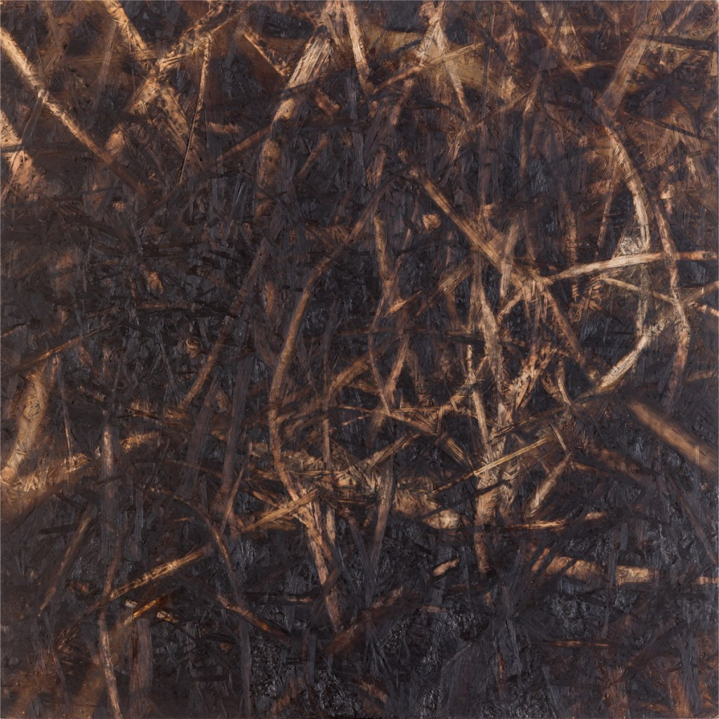 o.T., 2018, gebrannte und geschliffene Grobspanplatte, 65 x 65 cm  | untitled, 2018, burned and sanded  OSB, 65 x 65 cm