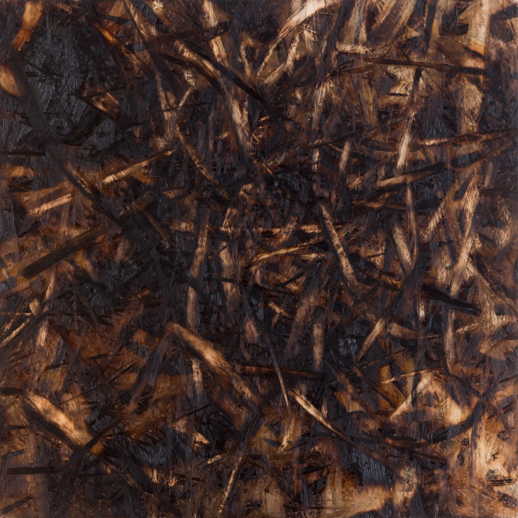 o.T., 2018, Kohle auf gebrannter und geschliffener Grobspanplatte, 65 x 65 cm  | untitled, 2018, charcoal on burned and sanded OSB, 65 x 65 cm
