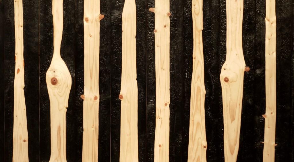 Detail, (Waldbrand, 2016, Tafel aus 28 Brettern, partiell verkohlt, ca. 300 x 504 cm) | detail, (forest fire, 2016, panel of 28 boards, partially burnt, about 300 x 504 cm)