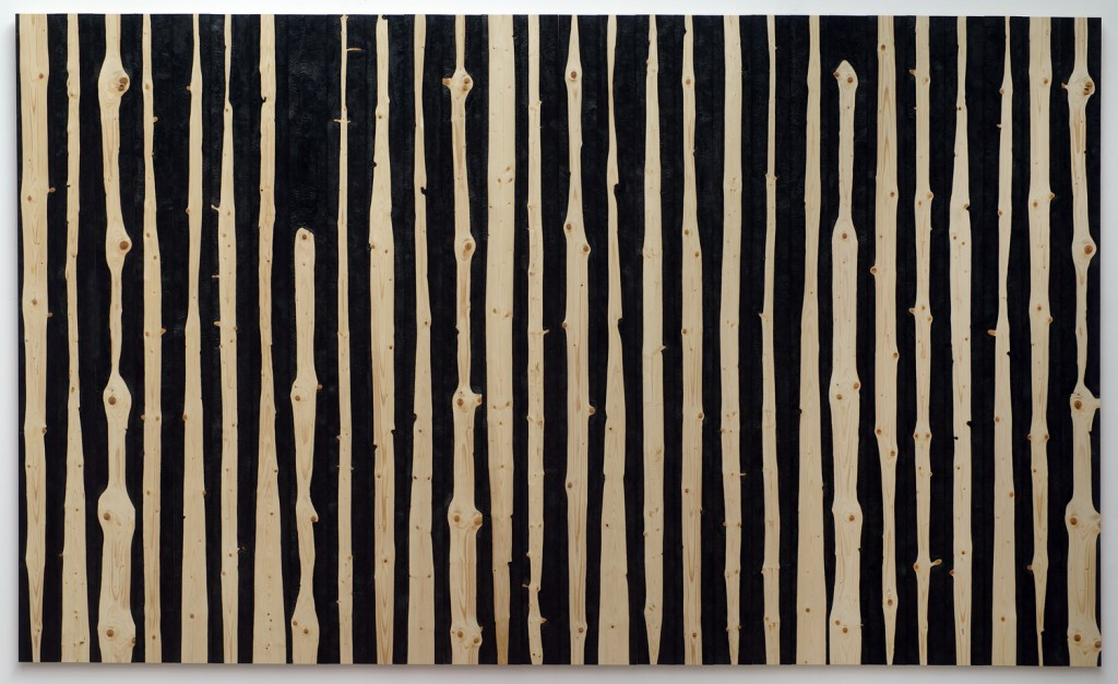 Waldbrand, 2016, Tafel aus 28 Brettern, partiell verkohlt, ca. 300 x 504 cm | forest fire, 2016, panel of 28 boards, partially burnt, about 300 x 504 cm